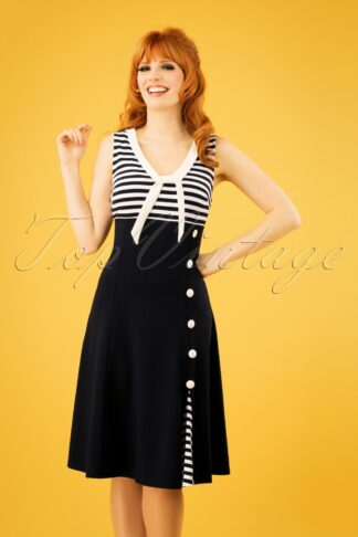 50s Vera Nautical Flared Sailor Dress in Navy
