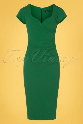50s Violetta Pencil Dress in Emerald Green