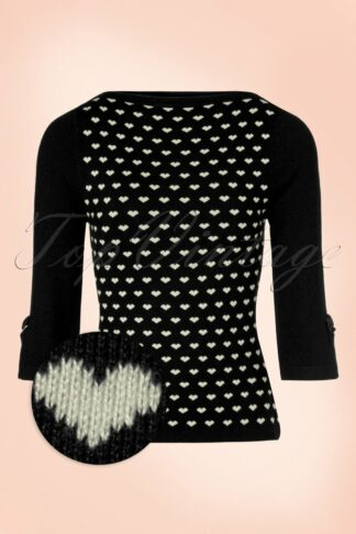 60s Addicted Charming Heart Sweater in Black