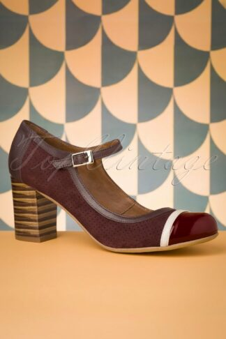 60s Frida Leather Mary Jane Pumps in Burgundy