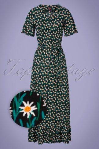 60s Hippie Edelweiss Maxi Dress in Black