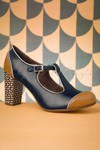 60s Madison Leather T-Strap Pumps in Navy and Mustard