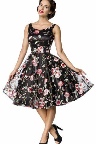 Belsira Retro Flower Dress Dark Mittellanges Kleid schwarz
