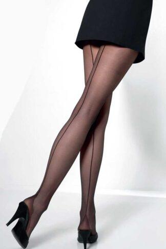 Cette Nylon-Strumpfhose mit Naht Vienna, schwarz von Rockabilly Rules