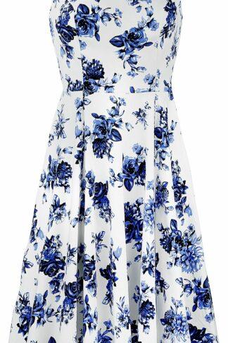 H&R London Blue Rosaceae Swing Dress Mittellanges Kleid multicolor