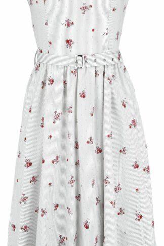 H&R London Stripes and Roses Mittellanges Kleid weiß