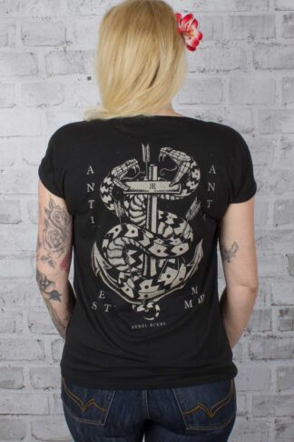 Rebel Rockers Girl Loosefit T-Shirt Double Snake von Rockabilly Rules