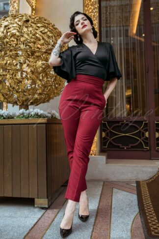 The Lena Cigarette Trousers in Burgundy