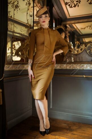 The Marlene Pencil Dress in Burnished Amber