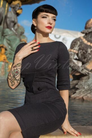 The Sarah Pinstripe Pencil Dress in Black