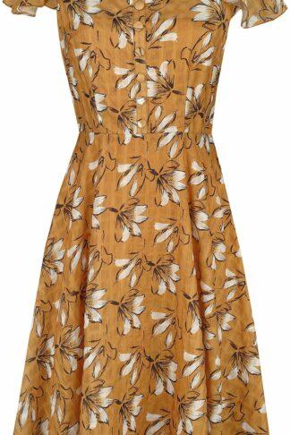 Voodoo Vixen Kaye Floral Sketch Print Dress Mittellanges Kleid senfgelb