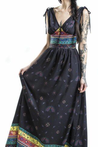 Voodoo Vixen Megan Fiesta Maxi Dress Langes Kleid schwarz