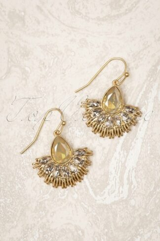 20s Crystal Fan Drop Earrings in Gold and Grey Opal