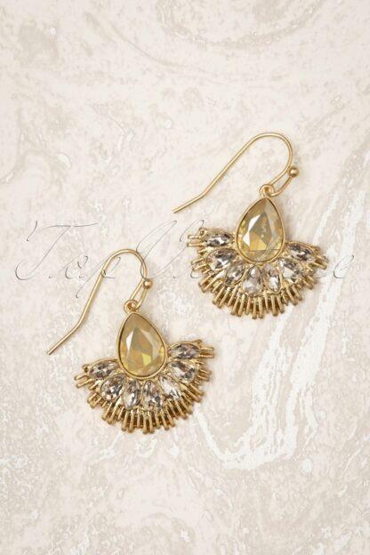 20s Crystal Fan Drop Earrings in Gold and Grey Opal