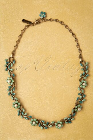 20s Crystal Flower Vine Necklace in Seafoam Green