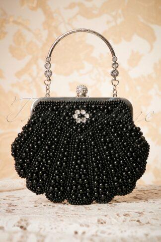 20s Eleanor Beaded Handbag in Black