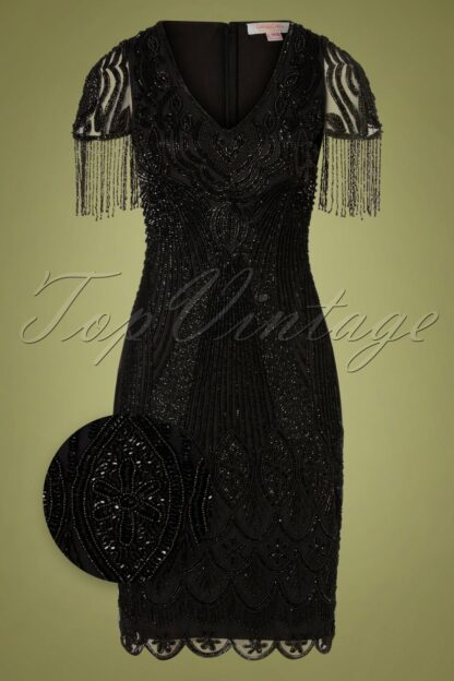 20s Marta Flapper Dress in Black