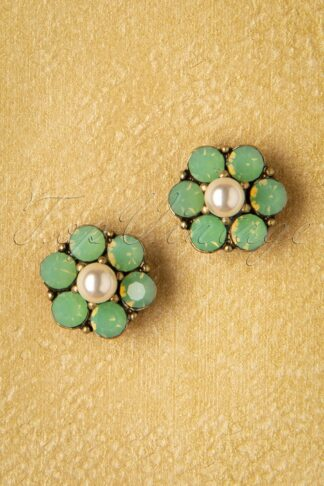 20s Mini Crystal Flower Earstuds in Seafoam Green
