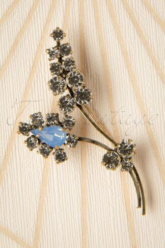 30s Crystal Sprig Leaf Brooch in Gold and Baby Blue