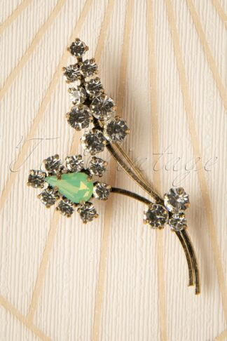 30s Crystal Sprig Leaf Brooch in Gold and Sea Foam Green