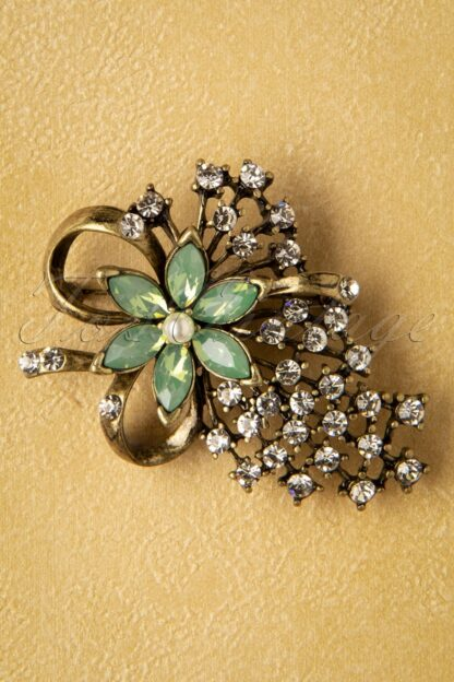 30s Miriam Haskell Brooch in Gold and Sea Foam Green