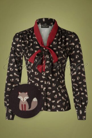 40s Arya Fox Blouse in Black