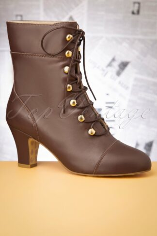 40s Ava On My Way Lace Up Booties in Brown