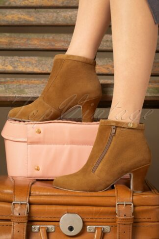 40s Ava Return To Sender Booties in Cognac