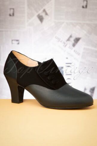 40s Ava Right On Time Shoe Booties in Black