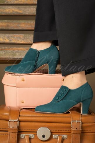 40s Ava Right On Time Shoe Booties in Teal