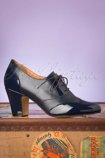 40s Back In The Day Leather Shoe Booties in Navy