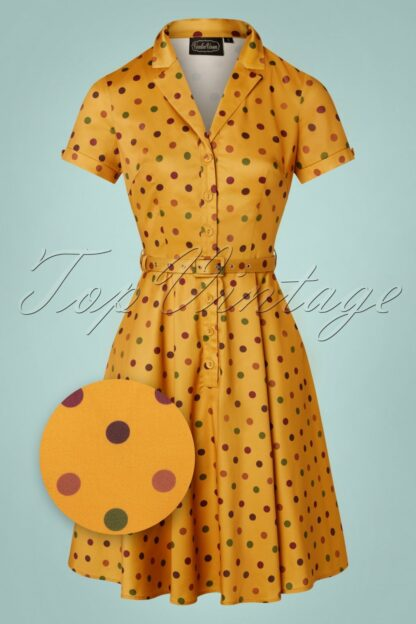 40s Diana Polkadot Swing Dress in Mustard