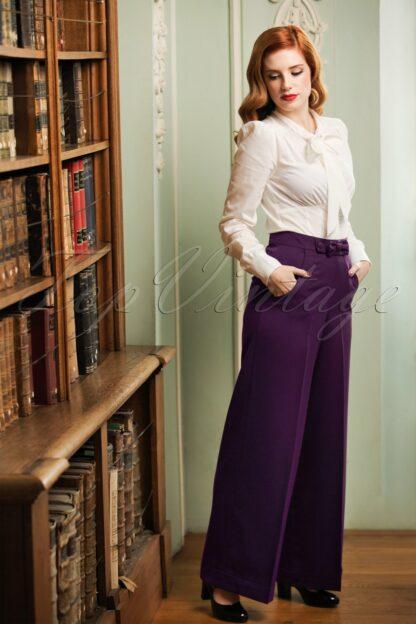 40s Hidden Away Trousers in Aubergine