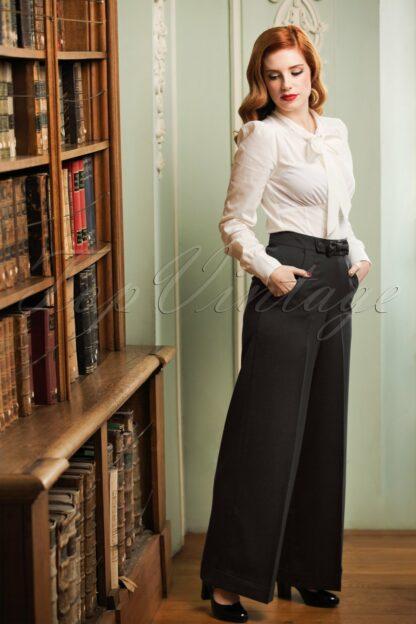 40s Hidden Away Trousers in Black