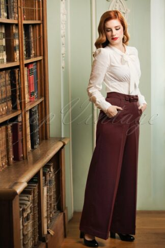 40s Hidden Away Trousers in Burgundy