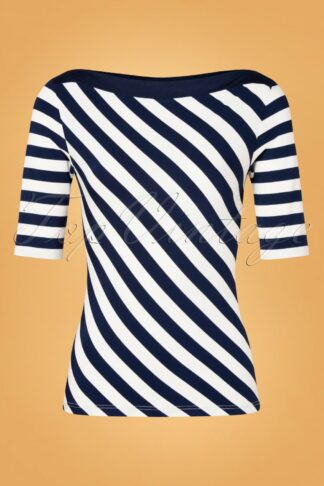 40s Juliana Slash Neck Stripes Top in Navy and Ivory