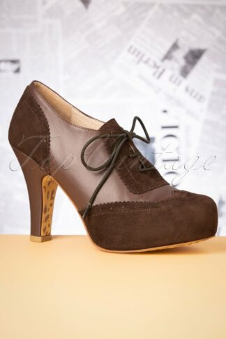 40s June On Track Shoe Booties in Chocolate Brown