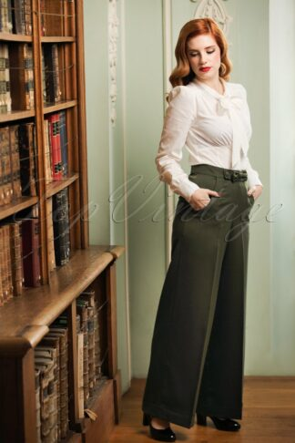 40s Mindy Hide Away Trousers in Olive Green