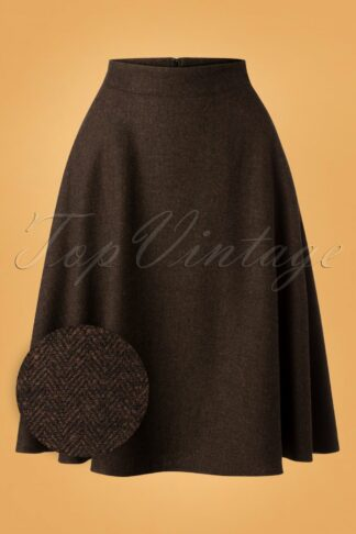 40s Shirley Swing Skirt in Herringbone Brown