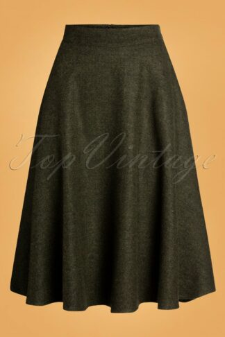 40s Shirley Swing Skirt in Herringbone Green