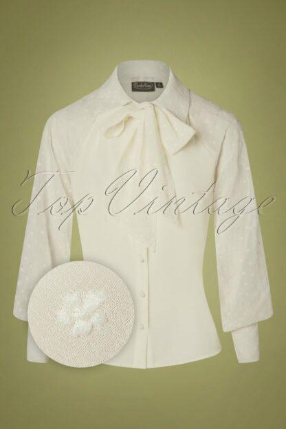 40s Winona Neck Tie Chiffon Blouse in Cream