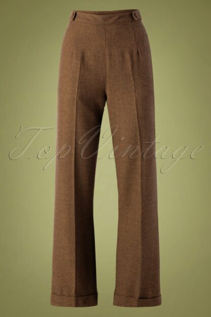 40s Work It Out Trousers in Brown