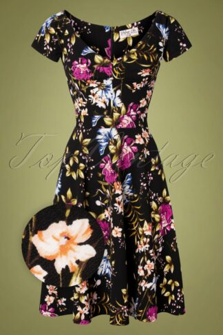 50s Adalyn Floral Swing Dress in Black