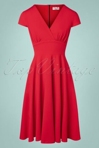 50s Addison Swing Dress in Lipstick Red