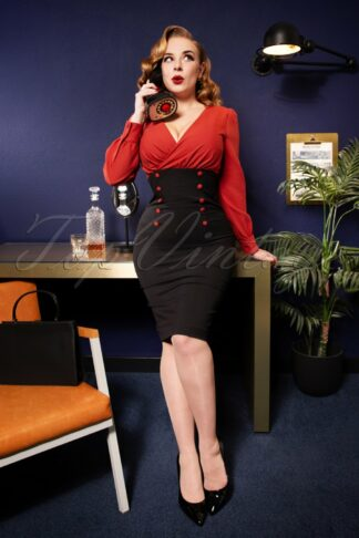 50s Alicia Pencil Dress in Rusty Red and Black