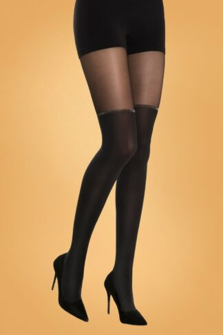 50s Amarantha Tights in Black and Gold