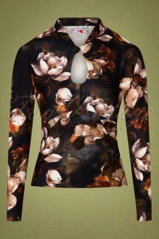 50s Amarina Top in Autumn Flowers