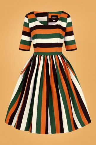 50s Amber-Lea Pumpkin Stripe Swing Dress in Multi