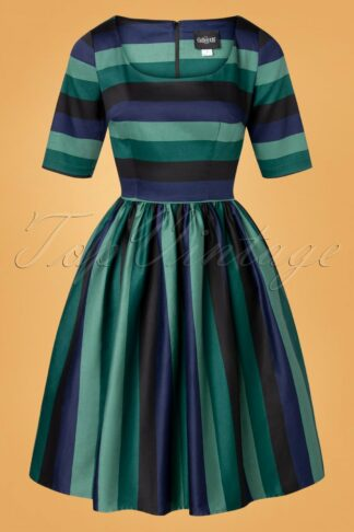 50s Amber-Lea Twilight Stripe Swing Dress in Green