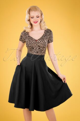 50s Amelie Swing Skirt in Black
